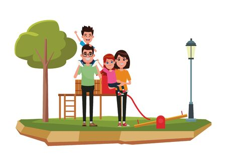 family avatar father with glasses carrying a boy in the shoulder and mother with short hair holding a girl profile picture cartoon character portrait outdoor over the grass in the playground with slid