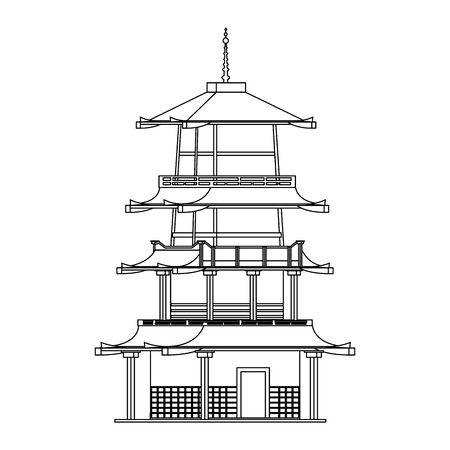 pagoda temple icon over white background, vector illustration