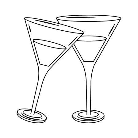 Cocktail martinis drinks over white background, vector illustration