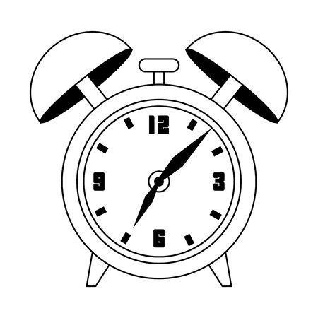 retro alarm clock icon over white background, vector illustration