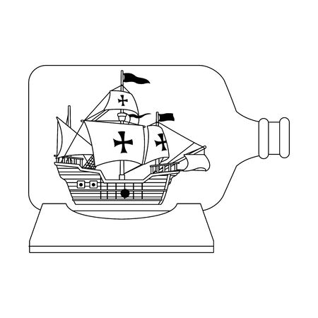 caravel ship antique in bottle vector illustration design Vectores