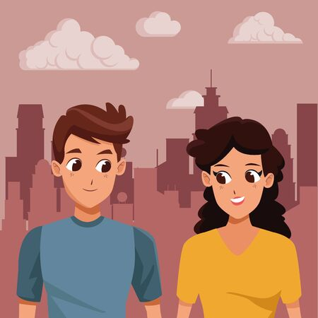 Young couple boyfriend and girlfriend smiiling and walking cartoon in the city urban background ,vector illustration.