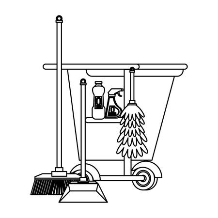 Cleaning equipment and products cart with broom and dustpan with mop vector illustration graphic design.