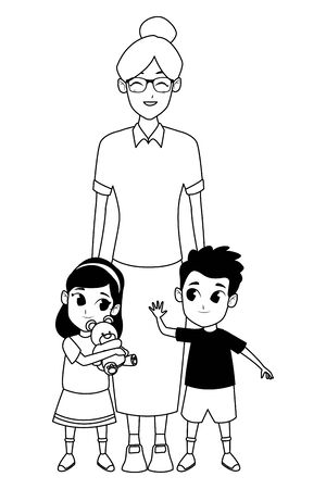 Family grandmother hand of with grandchildrens cartoons Illustration