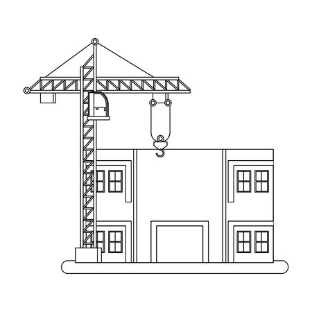 construction architectural engineering work, heavy crane with house under construction cartoon vector illustration graphic design Banque d'images - 131129909