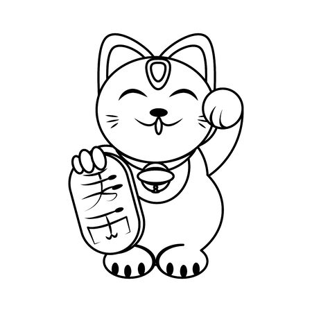 Classic Chinese Lucky Waving Cat icon over white background, vector illustration Иллюстрация