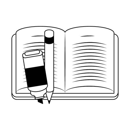 Academic book with highlighter pen and pencil over white background, vector illustration  イラスト・ベクター素材