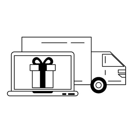 Delivery truck with a laptop and gift vector illustration graphic design Illustration