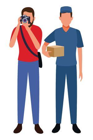 Jobs and professional workers vector illustration graphic design Ilustração