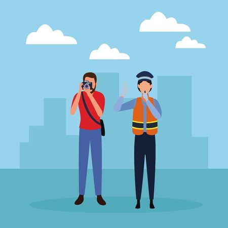 Jobs and professions professionals workers over cityscape scenery vector illustration graphic design