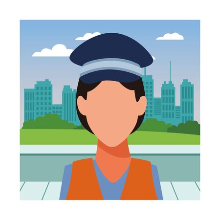 Transit agent woman with cap profession avatar in city park scenery vector illustration graphic design