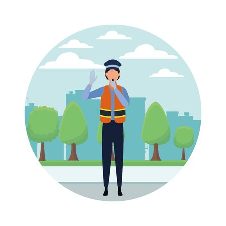 Transit agent woman with whistle profession avatar in city park scenery round icon vector illustration graphic design