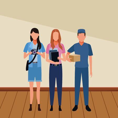 Jobs and professions professionals workers inside building wooden floor vector illustration graphic design Ilustração