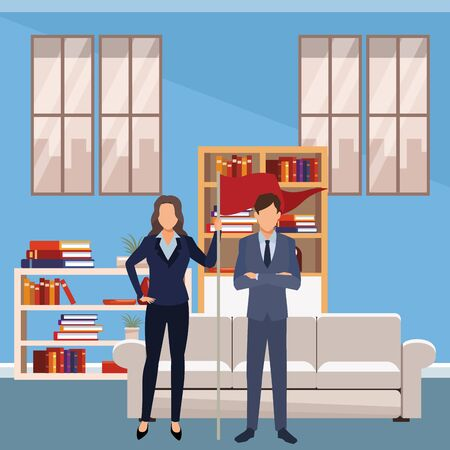 executive business coworkers with success flag cartoon  inside apartment scenery vector illustration graphic design Stock Illustratie
