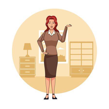 Executive businesswoman in office cartoon round icon vector illustration graphic design 向量圖像