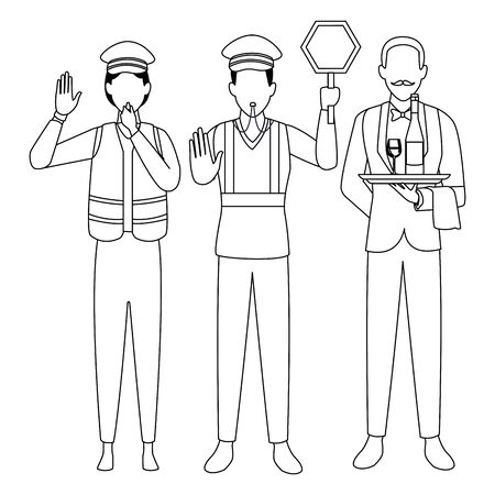 Jobs and professions professionals workers isolated vector illustration graphic design Çizim