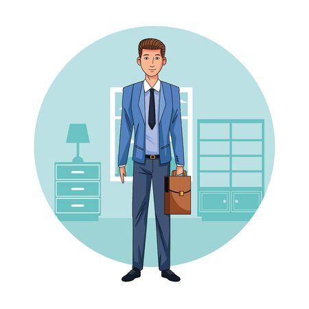 Executive businessman in the office cartoon round icon vector illustration graphic design Illustration