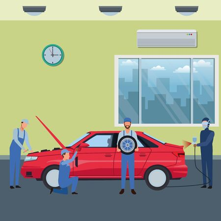 car service manufacturing workers assembling cartoon vector illustration graphic design Çizim