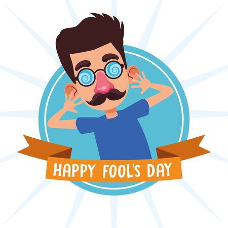 April fools day boy with mustache and glasses cartoons vector illustration graphic design