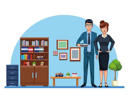Business workers working in the office cartoons vector illustration graphic design
