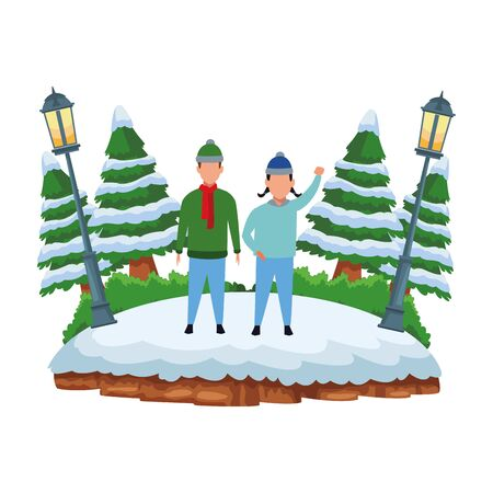 children wearing winter clothes and knitted cap avatar cartoon character at snowing park vector illustration graphic design