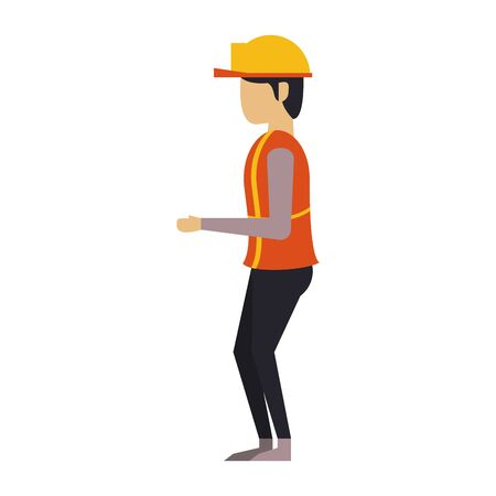 construction architectural engineering, worker making heavy work with protection safety equipment in under construction site isolated cartoon vector illustration graphic design Çizim