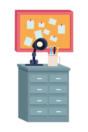 Office workplace elements light lamp and pencils on drawer with corkboard cartoons ,vector illustration graphic design. 向量圖像