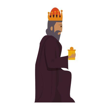 merry christmas nativity christian manger catholic religion december biblical wise man gaspar scene cartoon vector illustration graphic design Illustration
