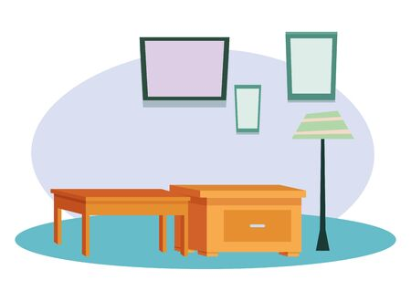Office and workplace elements empty desk and drawer cartoons ,vector illustration graphic design.