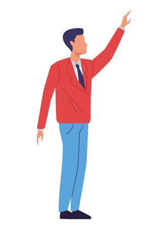 Executive businessman with arm up faceless ,vector illustration graphic design.