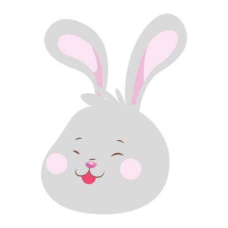 cartoon bunny showing the tongue icon over white background, colorful design. vector illustration
