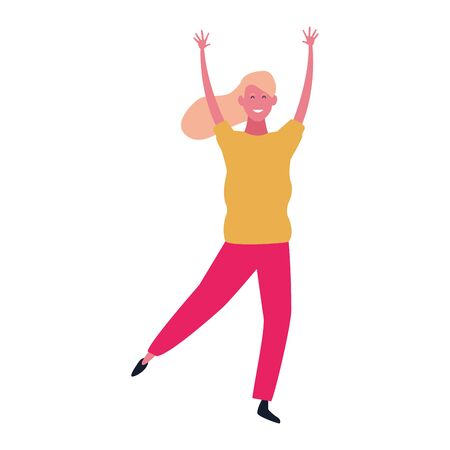 happy woman dancing icon over white background, colorful design. vector illustration Çizim