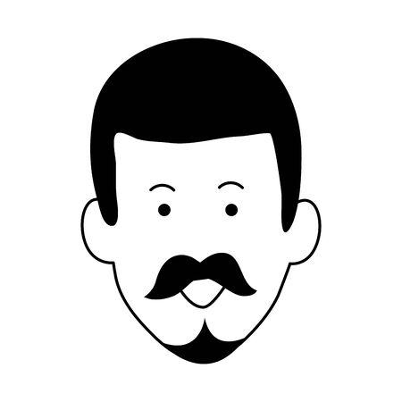 cartoon adult man face icon over white background, vector illustration Ilustração