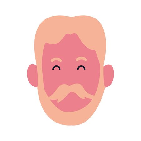 cartoon man with beard and mustache icon over white background, colorful design. vector illustration