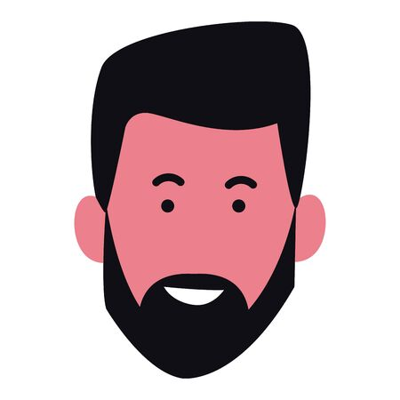 cartoon man with beard icon over white background, colorful design. vector illustration Иллюстрация