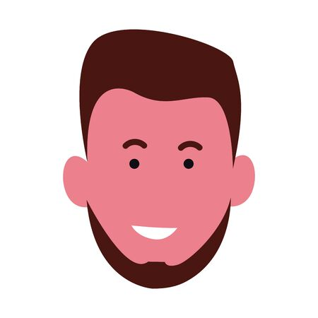 cartoon young man with beard icon over white background, colorful design. vector illustration