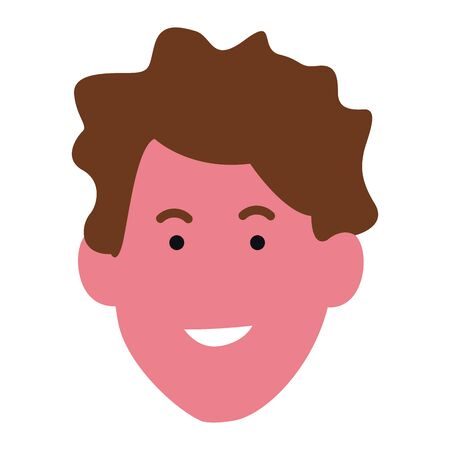 cartoon young man face icon over white background, colorful design. vector illustration Çizim