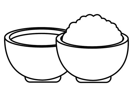 Rice and soup in bowls food cartoon ,vector illustration graphic design.