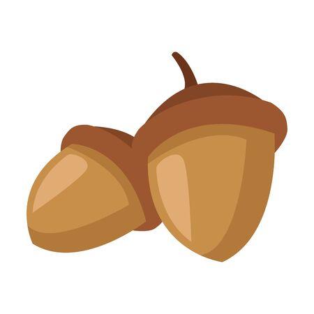 autumn nuts fruits seasonal icons vector illustration design