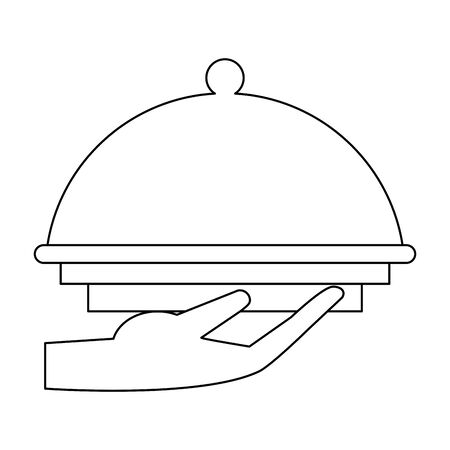 Covered platter with waiter hand icon image over white background, vector illustration