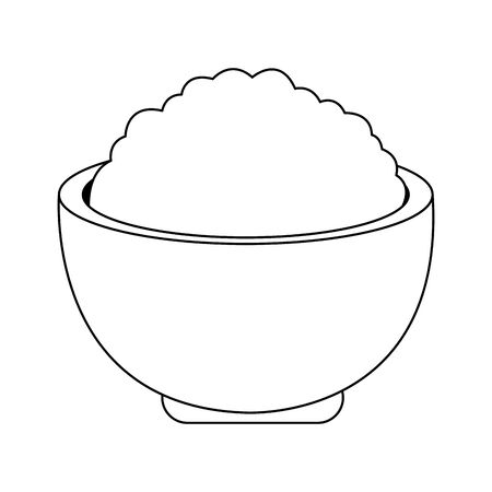 bowl with rice icon over white background, vector illustration Illustration