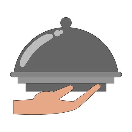 Covered platter with waiter hand icon image over white background, colorful design. vector illustration Çizim