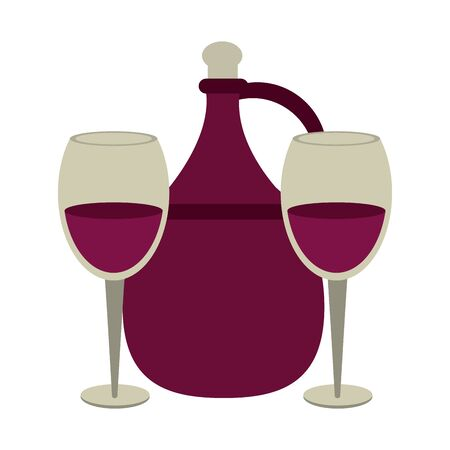 jug of wine and wineglass icon over white background, vector illustration