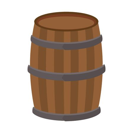 wooden barrel icon over white background, vector illustration