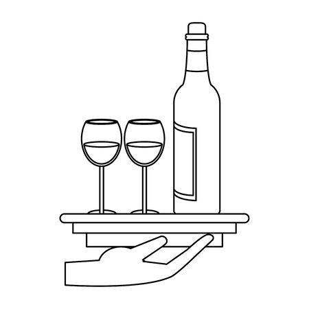 waiter hand with a platter with wine bottle and glasses over white background, vector illustration