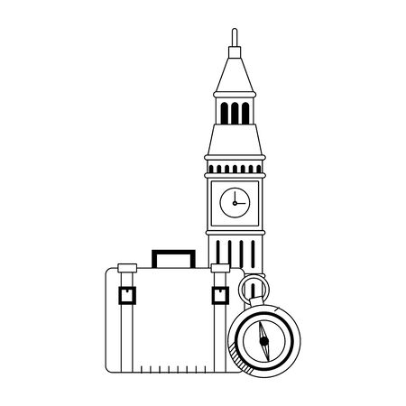big ben with travel suitcase and compass over white background, vector illustration