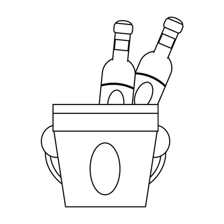 wine bottles and ice bucket over white background, vector illustration