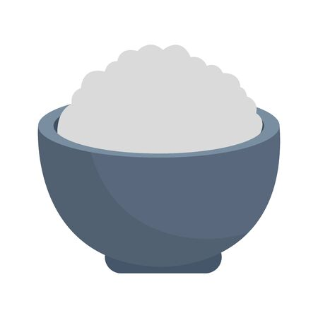 bowl with rice icon over white background, colorful design. vector illustration