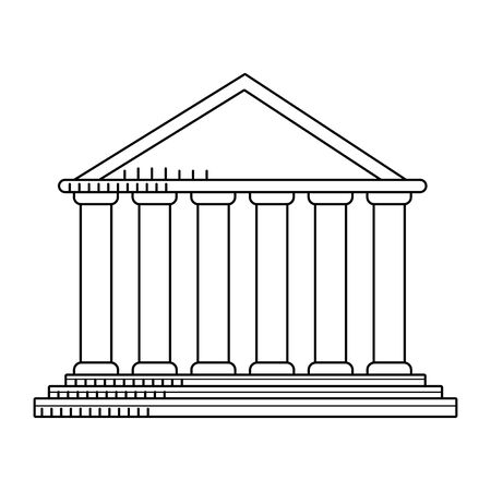 Pantheon of rome icon over white background, black and white design. vector illustration