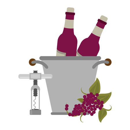 corkscrew and ice bucket with wine bottles over white background, vector illustration 일러스트